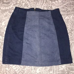 Modern Femme Free People Color Block Denim Skirt